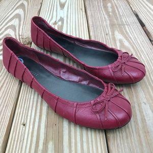 Nine West Women Shoe Flat Loafer Maroon Leather